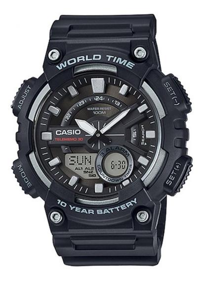 Relógio Casio Standard Anadigital Resina Preto Aeq-110w-1avd