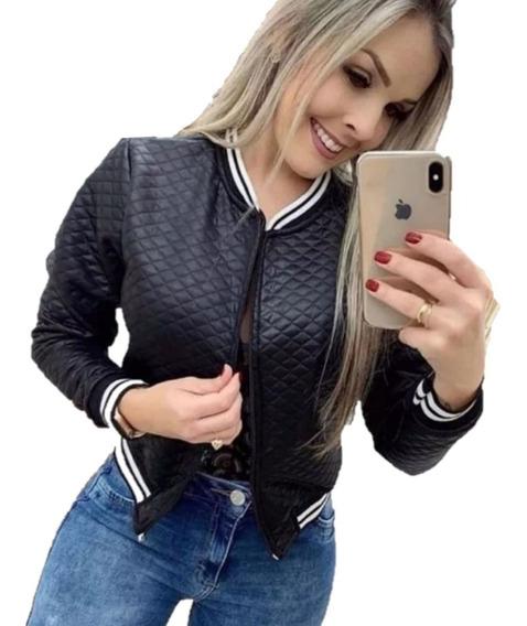 Jaquetinha Blusa Bomber Metalassê Casaco Blazer Listra