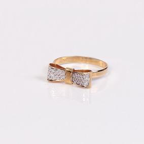 Anel Detalhe Em Ouro Branco Com Laço - Ouro 18k