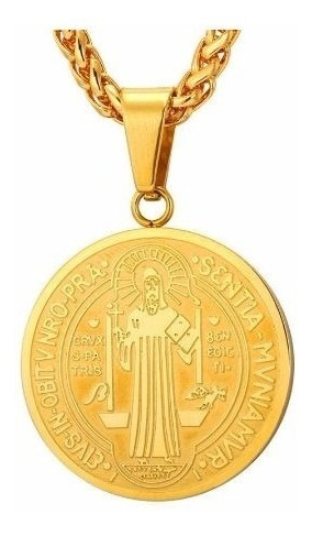 Colar Cordão Corrente São Benedito Igreja Folheado Ouro Prat