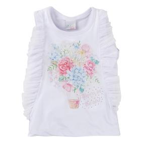 Conjunto Menina Blusa Detalhe Tule + Short Floral 912325