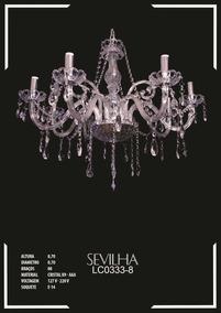 Lustre De Cristal K9 - Aaa 8 Braços Sevilha - Lc0333-8
