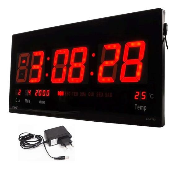 Relógio De Parede Digital Led, Digital, Data, Semana, Temp.