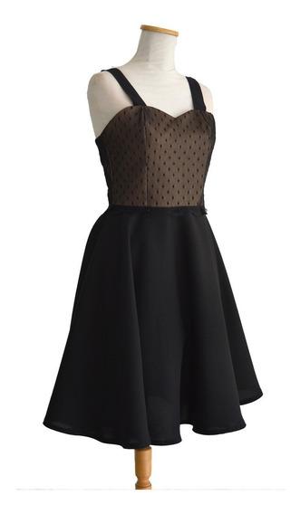 Vestido Pin Up Retro Vintage Plumetí Nude Negro Plato