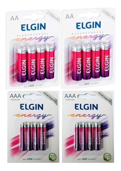 8 Pilhas Recarregáveis Elgin Aa-2700 + 8 Aaa (palito) Rec.