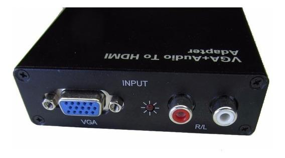 Adaptador Conversor Vga A Hdmi Audio Notebook A Tv + Fuente