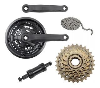 Kit Bike Pedivela + Catraca + Corrente + Mov Central 18 Velo