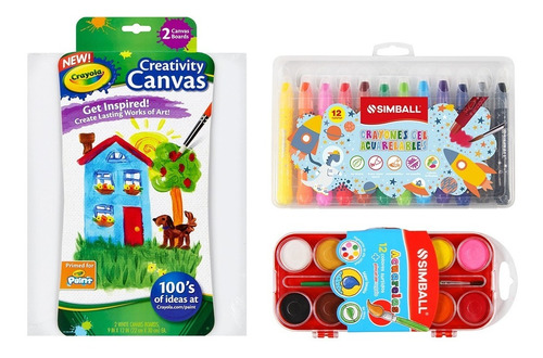 Kit Arte Lienzo, Acuarelas Y Crayones Acuarelables Simball