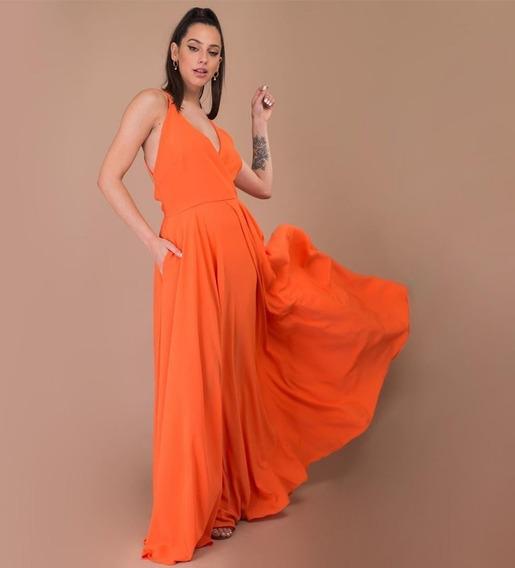 Vestido Largo Cruzado Naranja