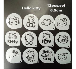 12 Pzas Estencil Caffé Latte/fondant//galleta Hello Kitty