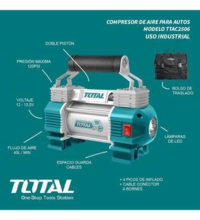 Compresor Aire Portátil Para Autos Doble Pistón Total 120psi