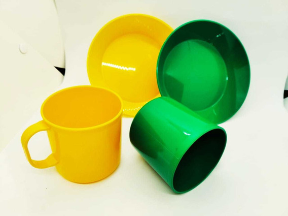 Kit Plato Y Taza De Colores X2 Kits.