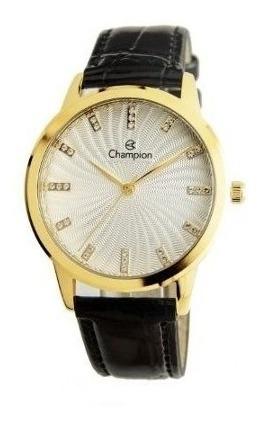 Relógio Champion Feminino Cn28286b Couro Metal Dourado Preto