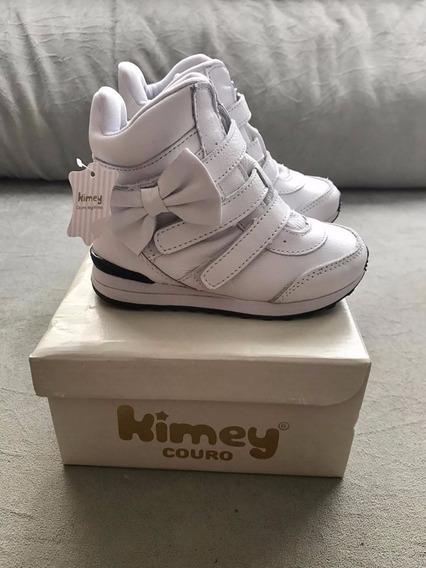 Tênis Sneaker Couro Branco Infantil