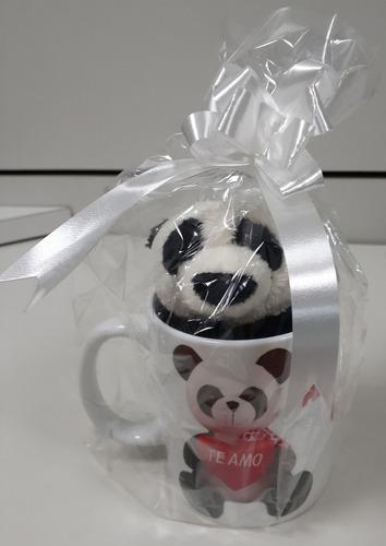 Imagem 1 de 9 de Caneca Porcelana + Urso Panda 15cm Presente Super Romântico