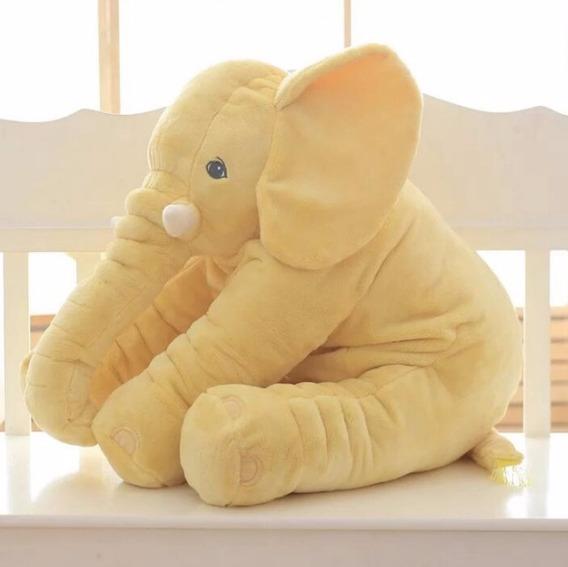 Elefante 40cm Amarelo Pelúcia Naninha Travesseiro Neném Bebê