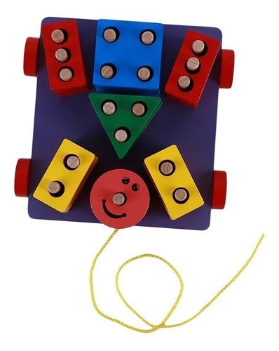 Imagen 1 de 7 de Carro Arrastre Figuras Geométricas Juguete Madera Juego