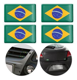 Jogo Adesivo Resinado Poliéster Bandeira Brasil 4,5cm