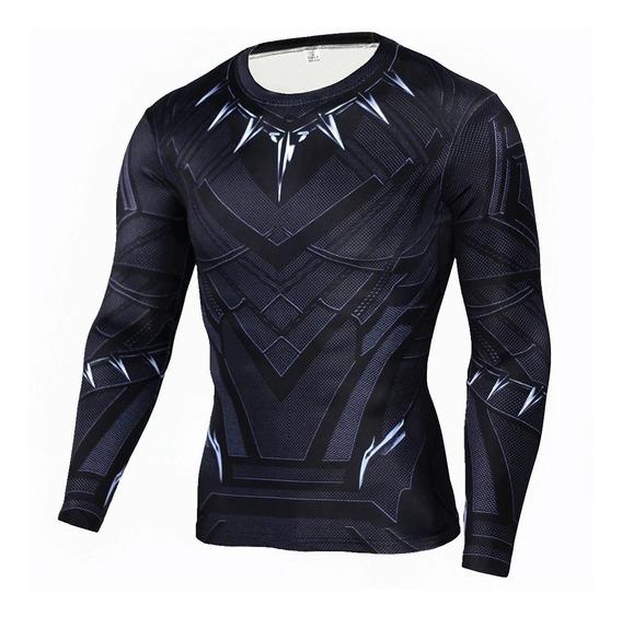Camisa Compressão Pantera Negra Manga Longa 3d Cosplay Slim