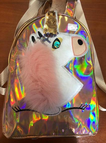 Mochila Unicornio Niñas Tornasolado Moda Fashion Ma-399