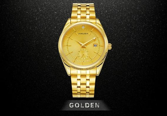 Relógio Amuda Dourado Feminino Barato Mais Brinde Surpresa
