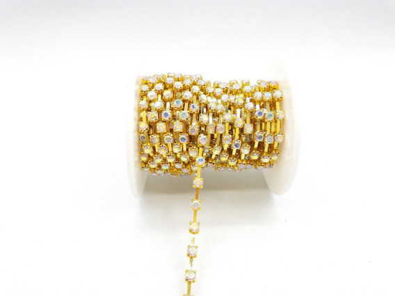 Rollo Strass Base Dorado 4 Mm X 10 Yardas Bijou Costura