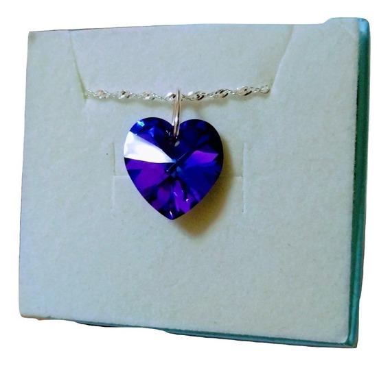 Colar Coração Cristal Swarovski Heliotrope 1,4cm Em Prata 925