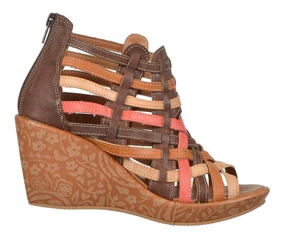Calzado Zapato Dama Mujer Plataforma Café Cómodo Tipo Red