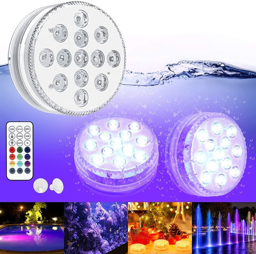 Luz Sumergible 10 Led Para Piscina Agua Control Luces