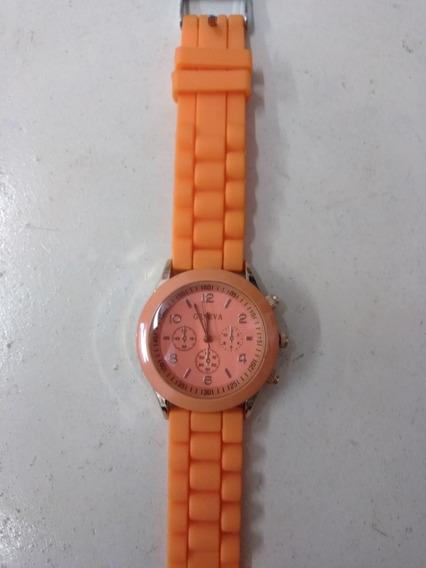 Relógio Laranja Geneva,silicone,feminino,frete Grátis!!!