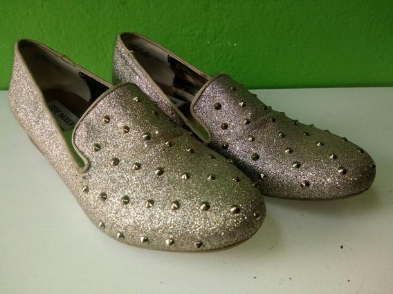 Zapatos Dorados T.8m Con Tachas Tipo Mocasin Sin Uso