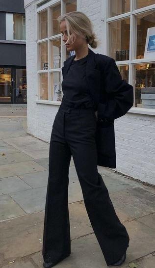 Pantalon Mujer Negro Oxford Gabardina Materia