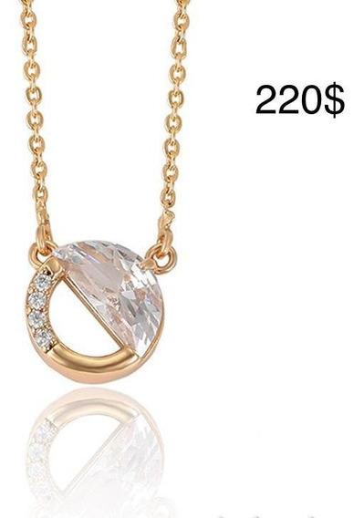 Cadena Collar Con Dije Circular, Chapa De Oro Y Zirconia