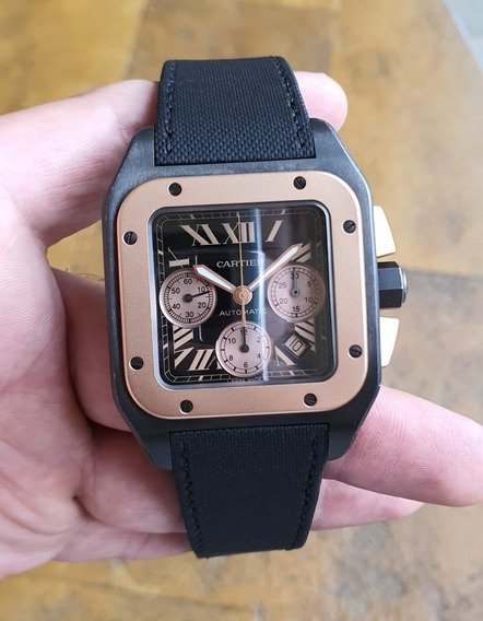 Reloj Cartier Santos 100 Xl Cronógrafo W2020004 Oro Rosa