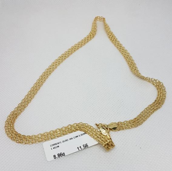 Corrente Em Ouro 18k 750 Impecável 45cm 8,86g