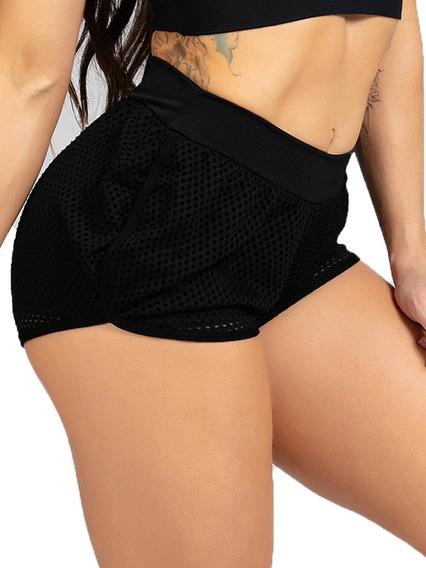 Roupa Feminina Short Curto Com Tela Moda Fitness Promoção 624