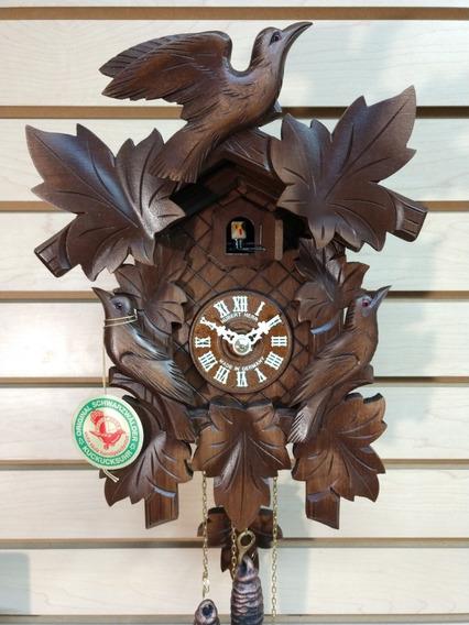 Reloj Cucú Alemán Hubert Herr 800 - Nuevo - Aves Y Hojas