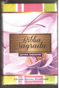 Bíblia Sagrada Letra Gigante Almeida - Ra - Ziper Lilas Flor