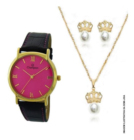 Relógio Feminino Champion Kit Colar E Brincos Ch22206j