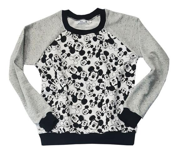 Blusa Casaco Cinza Preto Moletom Sem Pelúcia Feminino Mickey