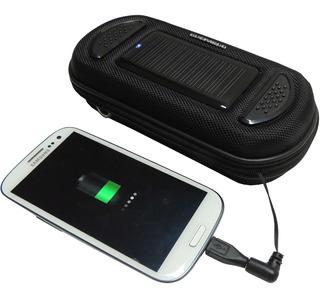Carregador Solar Portátil Case Smartphone Som Speaker