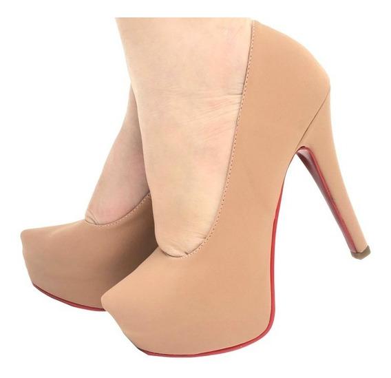 Sapato Feminino Scarpin Meia Pata Nude Rosê Salto Alto Finos