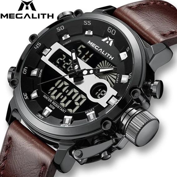 Relógio Pulseira De Couro Luxo Militar Social Elegante
