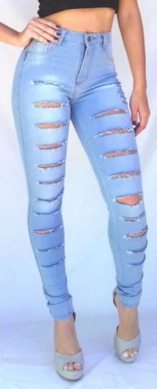 Calça Jeans Roupas Feminina Cintura Alta Rasgada Lycra Dins