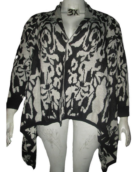 Cardigan Sweater Crema/ Negro Estampado Talla 3x Americano