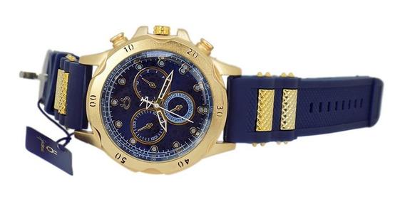 Relógio Masc Dourado C/ Azul Puls Borracha Ótimo Presente