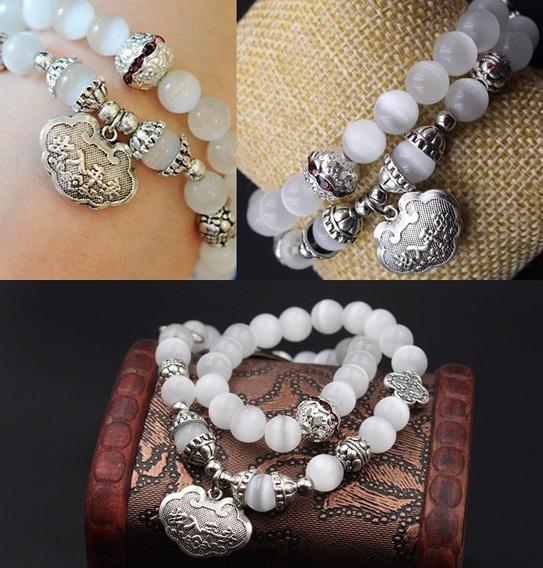 Pulseira Bracelete Budista Cristal Opala Br Medalha 60235
