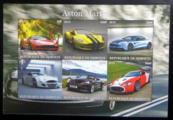 Djibouti Autos, Bloque 6 Sellos Aston Martin 2015 Mint L9884