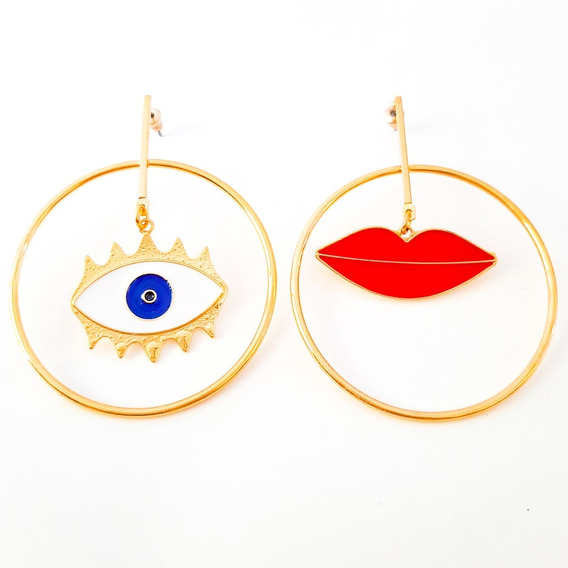 Brinco Argola Tendencia Feminino Dourado Olho Grego
