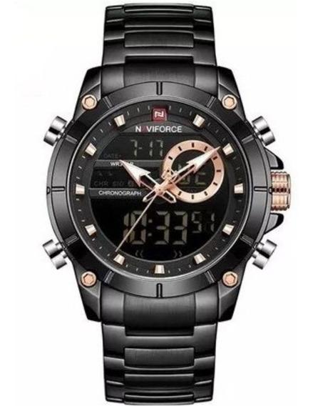 Relógio Naviforce De Luxo Digital Analógico Na Caixa